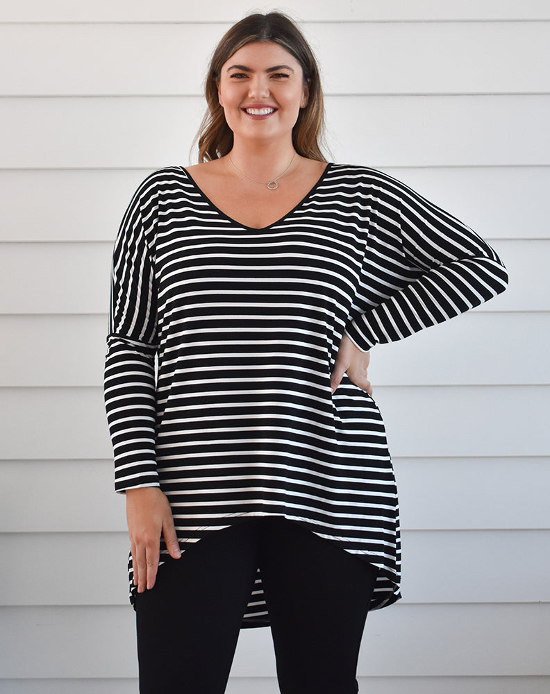Indigo Babe - Weekend Tee in Black & White Stripe