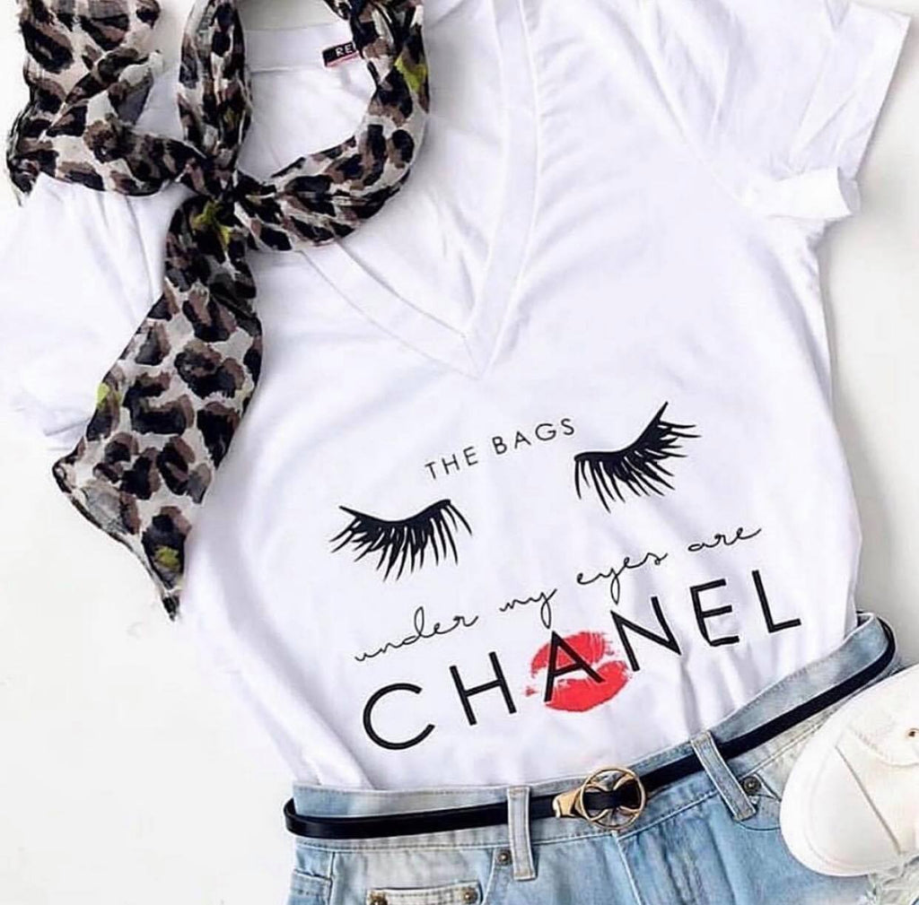 "Indigo Babe - ""The Bags under my Eyes are Chanel"" Tee in White"