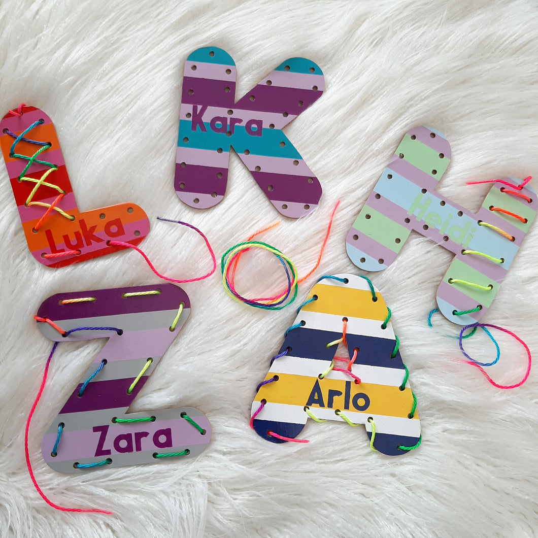 Personalised Wooden Lacing Letter
