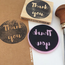 Load image into Gallery viewer, Short Phrase in Circle- Handcarved Stamp