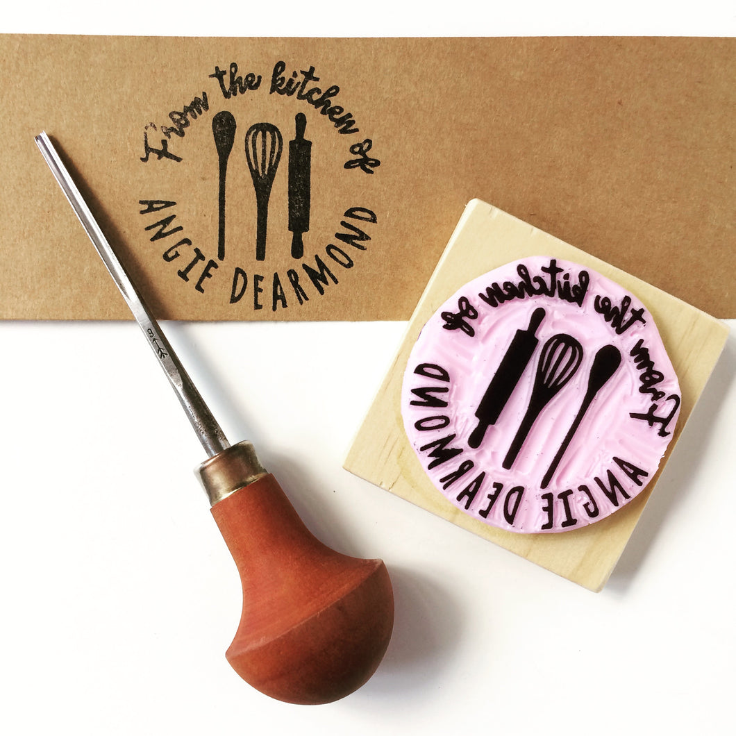 "Personalised ""From the kitchen of"" Handcarved Stamp"