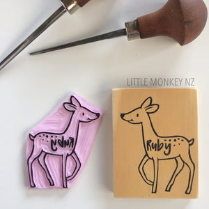 Kids Name and Picture - Handcarved Stamp