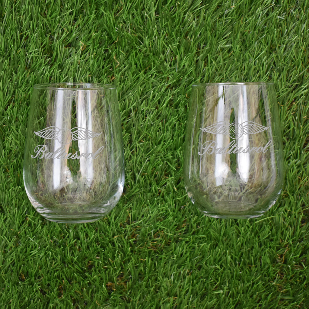 Set of 2 Stemless Wine Glasses by Sterling Cut Glass