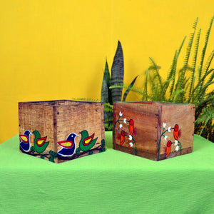 Chinhhari arts Wooden hand painted set of 2 multipurpose  planter/decor - CHWP013