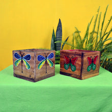 Chinhhari arts Wooden hand painted set of 2 multipurpose  planter/decor - CHWP014