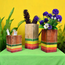 Chinhhari arts Wooden hand painted set of 3 multipurpose  planter/decor - CHWP017
