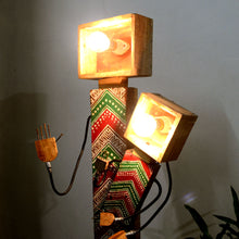 Wooden garden lamp mother child ..