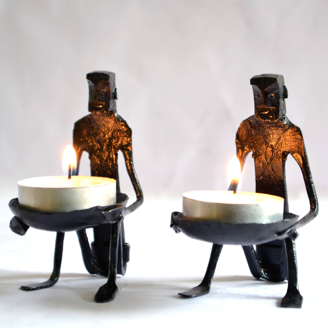 Chinhhari arts Wrought Iron  Tribal Candle stand set