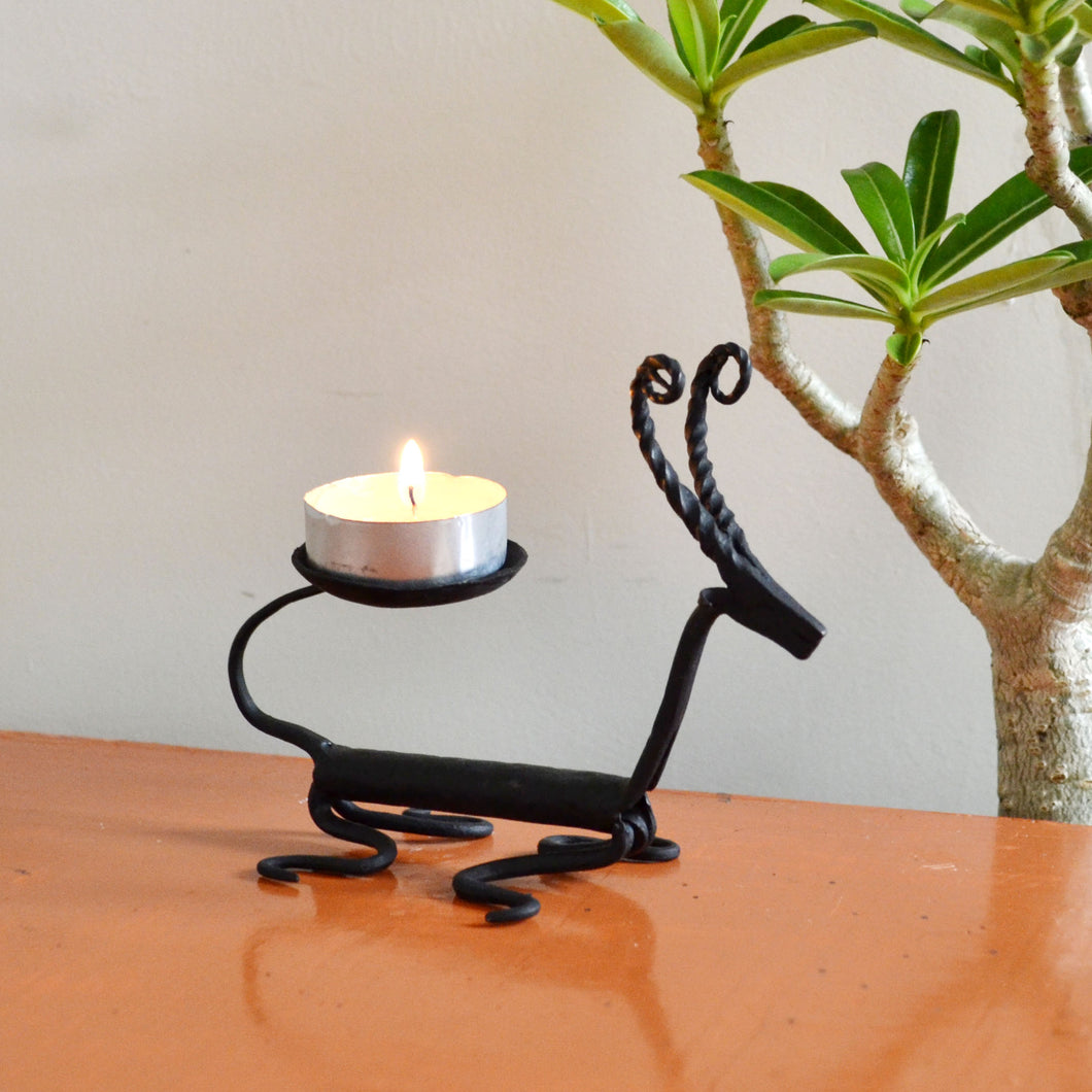 Chinhhari arts Wrought Iron Deer Candle stand