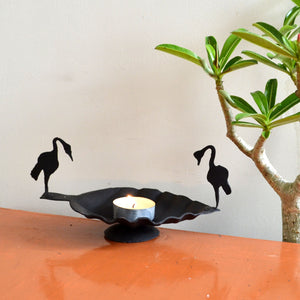 Chinhhari arts Wrought Iron swan candle stand