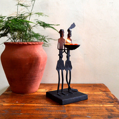 Chinhhari arts Wrought Iron tribal couple candle stand - Chinhhari Arts store