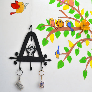 Chinhhari arts Wrought Iron triangle 3 hook keychain holde - Chinhhari Arts store