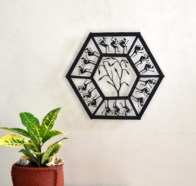 Chinhhari arts Wrought Iron hexagon jaali wall hanging - Chinhhari Arts store