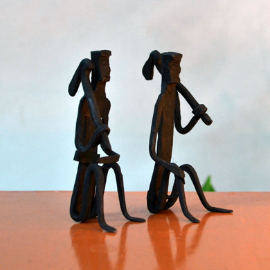 Chinhhari arts Wrought Iron Tribal Man pair - Chinhhari Arts store