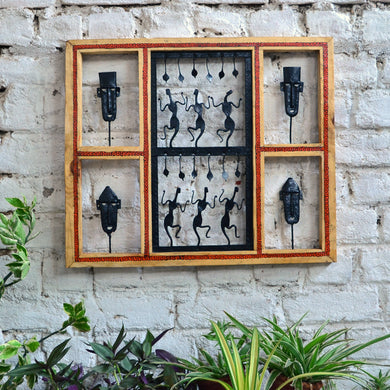Chinhhari arts Wrought iron jaali with wooden frame Mask and jaali wall art - Chinhhari Arts store