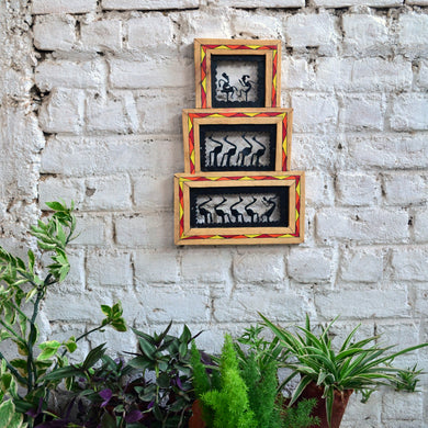Chinhhari arts Wrought iron jaali with wooden frame 3 box jaali wall art - Chinhhari Arts store