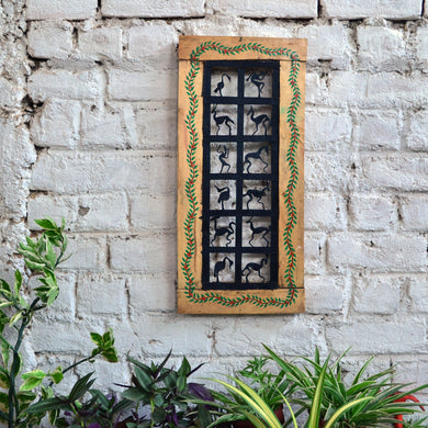 Chinhhari arts Wrought iron jaali with wooden frame  12 box jaali wall art - Chinhhari Arts store