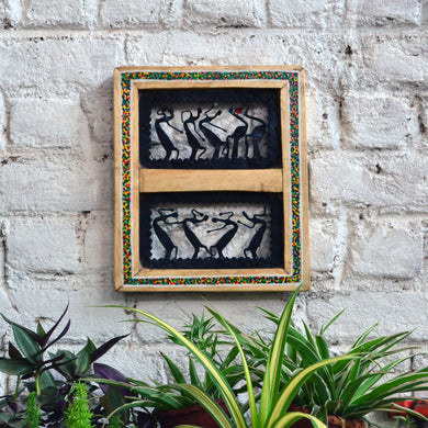 Chinhhari arts Wrought iron jaali with wooden frame 2 box dancing tribal jaali wall art - Chinhhari Arts store