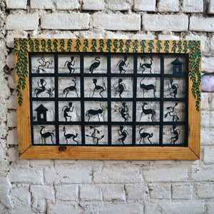 Chinhhari arts Wrought iron jaali with wooden frame 24 box Tribal Jaali - Chinhhari Arts store