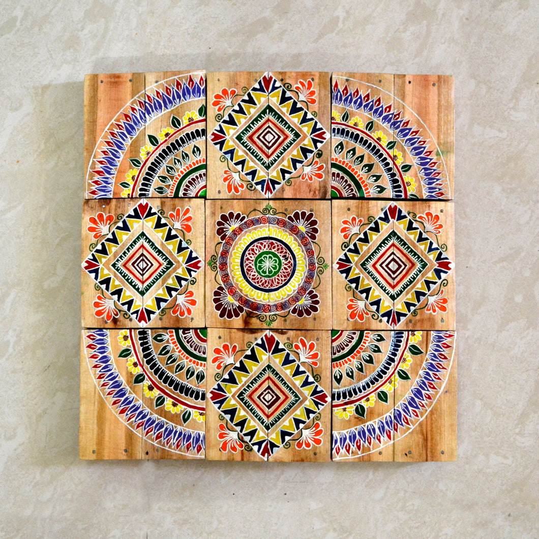 Chinhhari arts wooden hand painted wall decor tiles - WWD002
