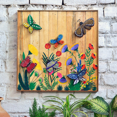 Chinhhari arts wooden hand painted butterfly wall decor - WWD010