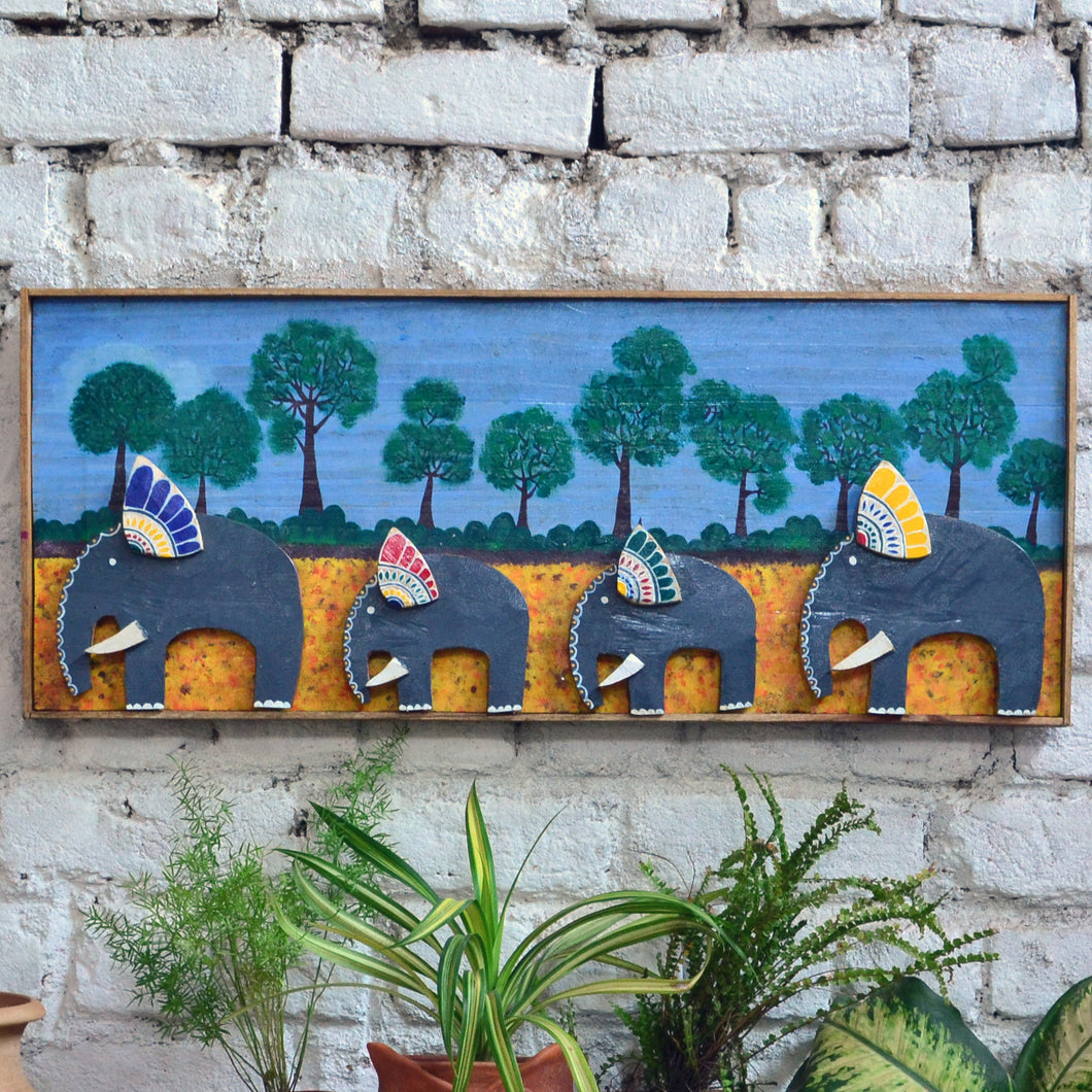 Chinhhari arts wooden hand painted elephant wall decor - WWD012 - Chinhhari Arts store