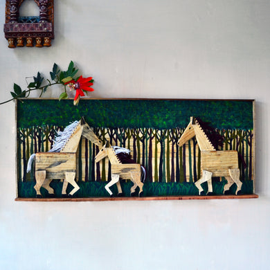 Chinhhari arts wooden hand painted horse wall decor - WWD014 - Chinhhari Arts store
