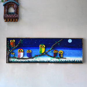 Chinhhari arts wooden hand painted owl wall decor - WWD015 - Chinhhari Arts store