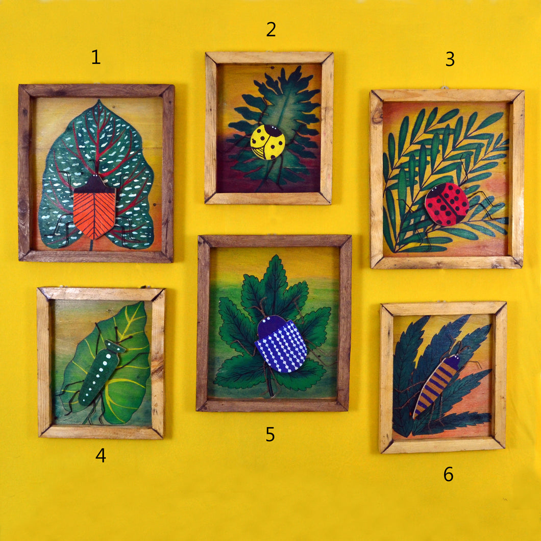 Chinhhari arts wooden set of 6 hand painted bugs wall decor - WWD016