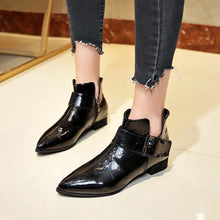 Load image into Gallery viewer, 2018 Women Winter Boots Solid LeatherAnkle Boots Zipper Ankle Boots Pointed Toe Ladies Short Boots Fashion Women Shoes