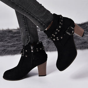 Autumn Winter Women Boots Fashion Suede Square High Heels Rivets Short Boots Round Toe Female Ankle Boots women Shoes