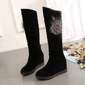 Boots Women Winter Black Snow Boots Women Knee Thigh High Elastic Boots For Women Sexy Middle Tube Wedge Shoes zapatos de mujer