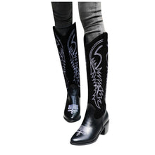 Load image into Gallery viewer, Embroidered Pointed Boots Women Heels Shoes For Winter Boots Shoes Woman Cowboy Combat Botas Mujer Female Knee-High Boots#N40