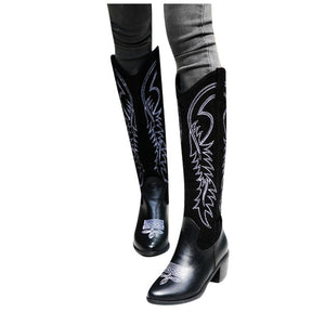 Embroidered Pointed Boots Women Heels Shoes For Winter Boots Shoes Woman Cowboy Combat Botas Mujer Female Knee-High Boots#N40