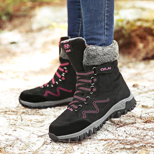 New Arrival Fashion Suede Leather Women Snow Boots Winter Warm Plush Women's boots Waterproof Ankle Boots Flat shoes 35-42