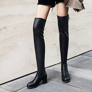 New Sexy Ladies Thigh Boots Zip Leather Women Winter Boots Square High Heels Black Shoes Pointed Toe Chaussures Femme 2019#g30