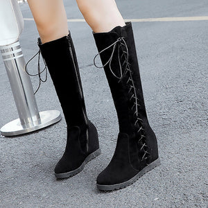 Thigh High Boots Black Women Sexy Shoes Fashion Cross-tied Zipper Keep Warm Winter Women Pure Color High Boots Boots Female#N3