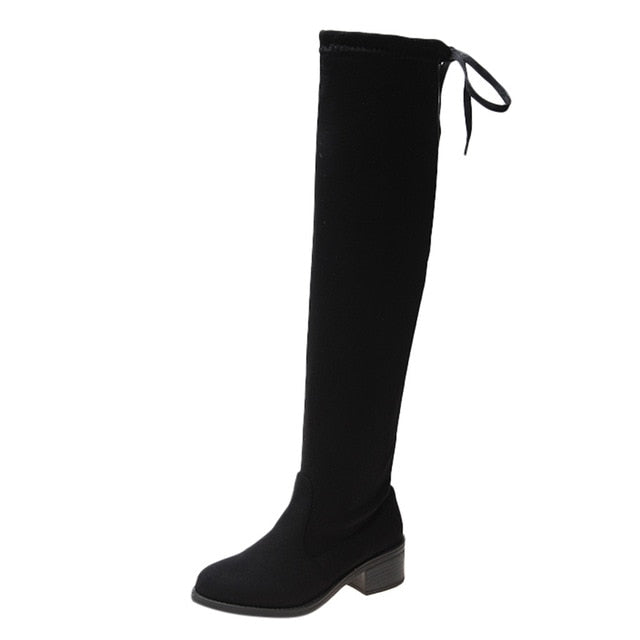 Thigh High Boots Female Winter Boots Women Over the Knee Boots Flat Stretch Sexy Fashion Shoes 2018 New Riding Boots#g3