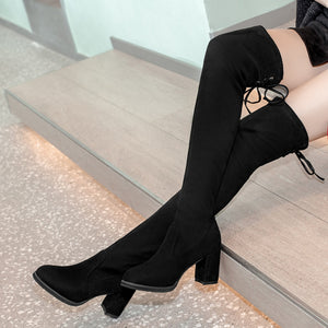 Thigh High Boots For Women Winter Shoes Lace Up Over The Knee Boots Women 2019 Square High Heel Casual Black Bottes Femme