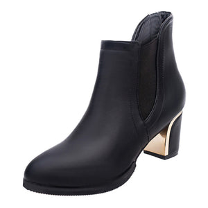 White Ankle Boots for Women Chunky Boots High Heel Autumn Winter Pointed Toe Booties Woman Fashion Zipper Brown Black Boots#3
