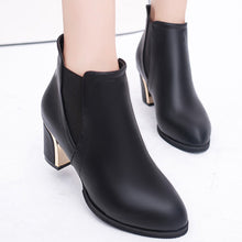 Load image into Gallery viewer, White Ankle Boots for Women Chunky Boots High Heel Autumn Winter Pointed Toe Booties Woman Fashion Zipper Brown Black Boots#3