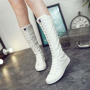 Winter Boots Women Booties Women Ladies Motorcycle Knee High Long Boots Platform Zipper Lace Up Canvas Shoes zapatos de mujer