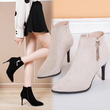 Load image into Gallery viewer, Women Ladies Fashion Ankle Pointed Toe Pearl Short Boots Casual Thin Heels Shoes high heels sexy shoes bota feminina salto #smt