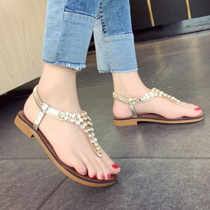 Women Rhinestones Pinch Sandals Summer Rome Wild Set Foot Flat Beach Walk Shoes platform sandals women fashion 2019 women summer