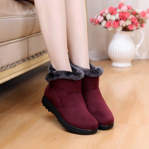 Women Snow Boots Short Platform Zip Shoes Suede Warm Plush Winter Female Ankle Boots Plus Size Fur Comfort Shoes Bottes Femme
