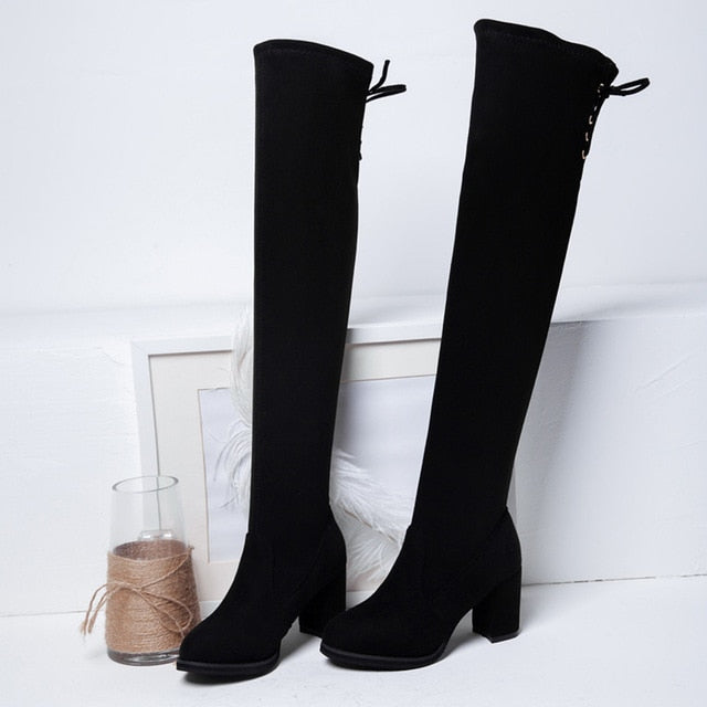 Women Square High Heels Boots Sexy Lace Up Winter Shoes Woman Over The Knee High Boots For Women Pointed Toe Bota Feminina#N30