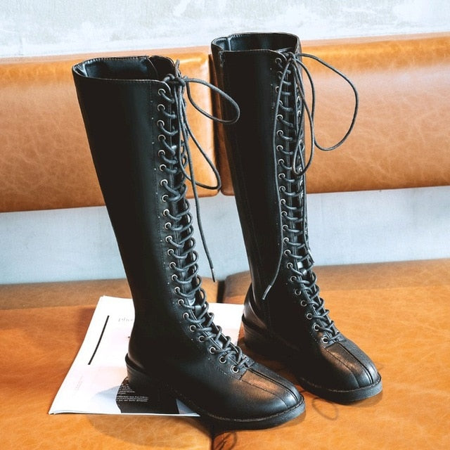 Women fashion Knee High Boots solid black British style large size boots Platform Knight boots motorcycle boots zapatos de mujer