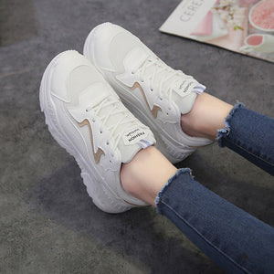 Women's Fashion Breathable Sport Running Shoes Lace Up Platforms Shoes Sneakers Sneakers Women Sport Shoes#g4