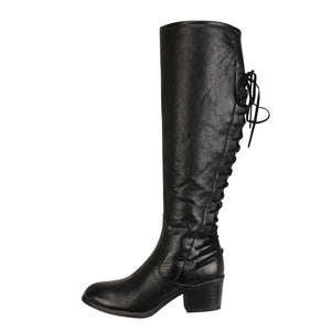 Women's Fashion Leather Lace up High Heels Boots Winter Sexy Knee Boots Fashion Over Knee Thigh High Boots Women Autumn Sexy#4gh
