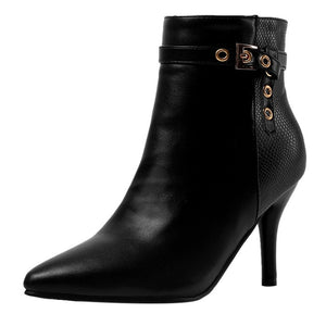 YOUYEDIAN 2019 Fashion Ankle-Boots Women Sexy Thin High Heels Woman Autumn Shoes Zipper Booties Pointed Toe Zapatos De Mujer